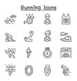 running competition icon set in thin line style vector image