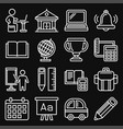 school and education icons set on black background vector image vector image