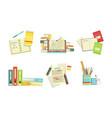 school supplies set copybook textbooks folders vector image vector image