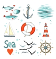Sea set of 9 nautical elements isolated on white vector image vector image