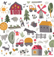 seamless pattern with cute hand drawn farm vector image