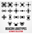 Set of black bluetooth GPS beacon icons vector image