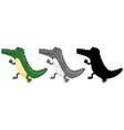 set of crocodile walking vector image vector image