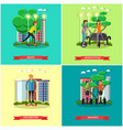set of modern transport concept posters vector image vector image