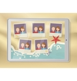 Tablet with pictures placeholders on the beach vector image vector image