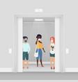 three women in masks at elevator coronavirus vector image vector image
