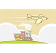 Train and Jet Plane vector image vector image