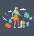 traveling woman with luggage in dark vector image vector image
