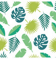 tropical leaves seamless pattern - green palm tree vector image