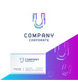 u company logo design with visiting card vector image vector image