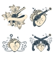 Vintage style emblems with human hearts flowers vector image