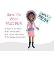 woman voting rally against wearing natural fur vector image