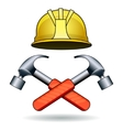 working tools two hammers and helmet vector image vector image