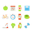 wristwatch and apple fruit set vector image