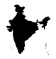 detailed flat black map of india asia vector image