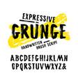 handwritten brush font in grunge style vector image