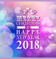 2018 merry christmas and happy new year card or vector image