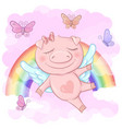 a cute pig cartoon on a rainbow vector image