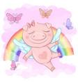 a cute pig cartoon on rainbow vector image