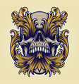 angry skull victorian gold ornaments vector image vector image