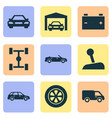 automobile icons set collection of wheel vector image vector image