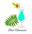 blue hawaiian cocktail isolated on white vector image vector image