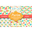 carnival seamless pattern set collection purim vector image vector image