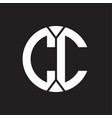 cc logo monogram with piece circle ribbon style vector image vector image