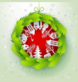 christmas decorated paper wreath vector image
