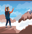 colorful daytime landscape of climber man vector image vector image
