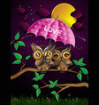 couple of owls on the branch under full moon vector image vector image