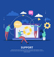 customer support center flat background vector image vector image