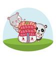cute animals with sushi kawaii vector image