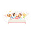 cute boys and girls having fun at festive table vector image vector image