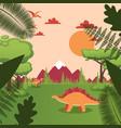 dinosaur in natural landscape jurassic park vector image vector image