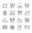 editable stroke thanksgiving day line icon set vector image vector image