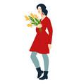 elegant woman with flowers present in hands vector image vector image