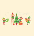 elves preparing christmas pine evergreen tree for vector image