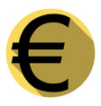 euro sign flat black icon with flat vector image vector image