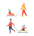 father carrying child on sleigh mother walks vector image vector image