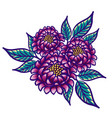 floral hand drawn vintage flower fabulous purple vector image