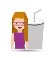 girl cartoon and cup soda icon cinema graphic vector image vector image