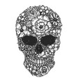 hand drawn human skull made from flowers botany vector image vector image