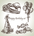 Happy birthday set hand drawn vector | Price: 1 Credit (USD $1)