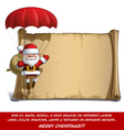 Happy Santa Scroll Parachute Sack of Gifts vector image vector image