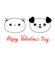 happy valentines day cat dog head face linear vector image vector image
