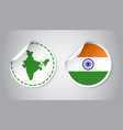 india sticker with flag and map label round tag vector image vector image