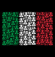 italian flag collage of devil items vector image vector image