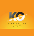 ko k o letter modern logo design with yellow vector image vector image