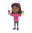 little african girl holding test tube and beaker vector image vector image
